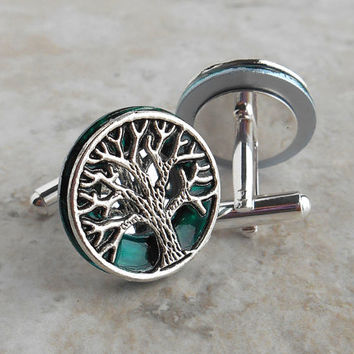 teal tree of life cufflinks, celtic cufflinks, anniversary gift, best man gift, mens jewelry, mens cufflinks, groom cufflinks, unique gift