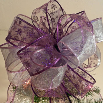 Large Sheer Lavender and sheer purple with purple glitter snowflakes Ribbon Christmas Tree topper bow 8 ft. tails and 12 ornament bows