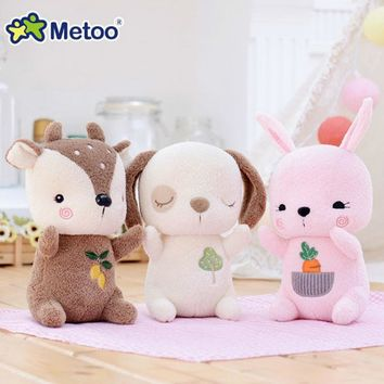 21cm Kawaii Plush Stuffed Animal Cartoon Kids Metoo Toys for Girls Children Birthday Christmas Gift Deer Rabbit Dog Metoo Doll
