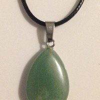 Green Tear Drop Shaped Crystal Necklace Pendant