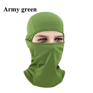 ARMY GREEN Winter Outdoor Ski Bibs Snowboard Skiing Full Face Mask Cycling Sport Headgear Tactical Paintball Cap Hat Snowbile Balaclava