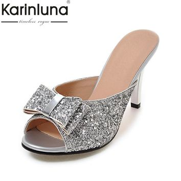 KarinLuna 2018 Big Size 32-43 Bow Summer Party Woman Shoes Women Sexy Bling Upper Mules Pumps Shoes Footwear
