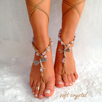 Barefoot sandals. beach sandal, beaded sandals, , sea star boho barefoot sandles, crochet barefoot sandals, , yoga, anklet  hippie shoes