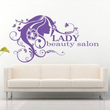 Wall Decal Decor Decals Art Beauty Salon Lady Hair Nails Inscription Advertisement Signboard Shop Gift (M721)
