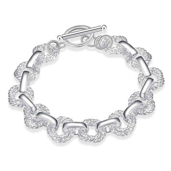 silver plated Double twisted wave TO men bracelet jewerly accessories MP
