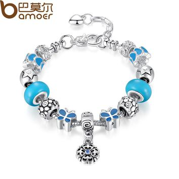 Silver Color Charm Bracelet with Round Pendant & Blue Butterfly Charm Murano Glass Beads Friendship Bracelet PA1460
