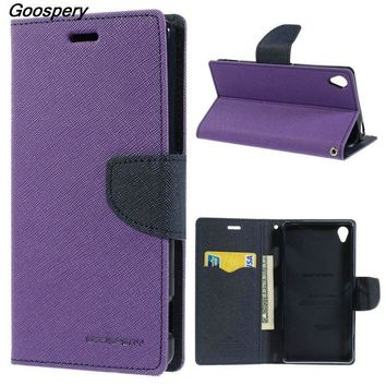 Mercury GOOSPERY Fancy Diary Wallet Leather Case for Sony Xperia C C3 Case for Sony M2 X Z Z1 Compact  Z2 Z3 Z5 Mini L36h L39h