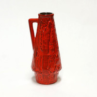 Red Ilkra Relief Vase | German Pottery | Fat Lava Vase | Vintage West Germany Ceramic Handled Cone vase | model 2001/25 - 25 cm
