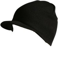 Knit Cuffless Visor Beanie Ski Cap Hat In Black