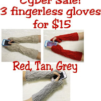 fingerless gloves, gift set. arm warmers, knitted, texting gloves, mittens, three pairs