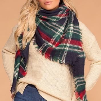 Berry Navy Plaid Blanket Scarf