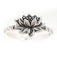 Detailed Lotus Blossom Flower Ring in Sterling Silver, Available in Sizes 5, 6, 7, 8 and 9 #7428