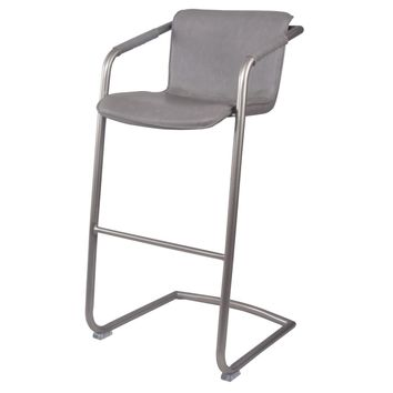 Indy PU Leather Bar Stool, Antique Graphite Gray (Set of 2)