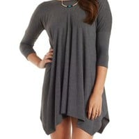 Charcoal Dropped Shoulder Trapeze T-Shirt Dress by Charlotte Russe