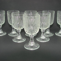 8 Iris and Herringbone Crystal Cocktail Glasses Jeannette Glass Stemware Footed Wine Cordial