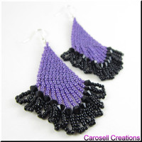 Beadwork Dangle Chandelier Seed Bead Earrings Sexy Lady in Purple and Black