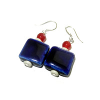 Red, White and Blue Ceramic Dangle Earrings, Fourth of July