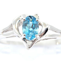 0.50 Carat Genuine London Blue Topaz Oval Heart Diamond Ring .925 Sterling Silver Rhodium Finish White Gold Quality