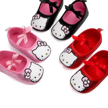 Newborn Toddler Mary Jane Kids Girls Cute Hello Kitty Cat Prewalker Infant Bow-Knot Dance Party Footwear Children Princess Shoes