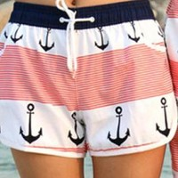 Anchor Stripes Pattern Shorts