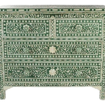 Bone Inlay Furniture - Four 4 Drawers Floral Moroccan Dresser Sideboard / Credenza | Free Shipping