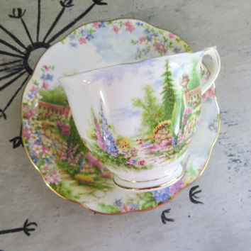 Tea Cup Royal Albert Tea Cup Kentish Rockery Teacup Bone China Teacup Porcelain Tea Cup Trees Tea Cup Housewarming Gift Vintage Teacup