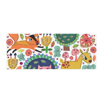 """Jane Smith """"Woodland Critters"""" Colorful Cartoon Bed Runner"""