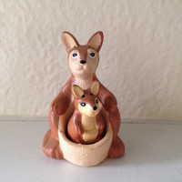 Mid Century Modern Kangaroo Mother and Baby Joey Salt and Pepper Shakers Made in Taiwan