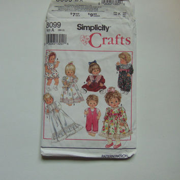 Vintage Simplicity 8099 Sewing Pattern 1992 Wardrobe for Baby Dolls in Three Sizes S M L