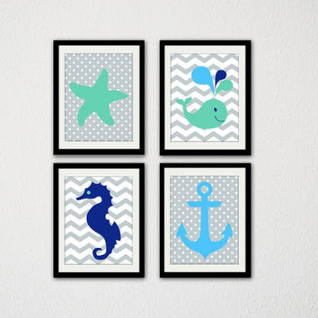 "Sea Themed Nursery Print Set. Whale. Starfish. Seahorse. Anchor. Baby Boy. Nursery. Baby shower. Kids Bathroom. Set of 4. 8.5x11"" Print."