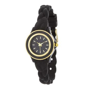 Carmen Braided Ladylike Watch With Black Rubber Strap