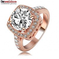 LZESHINE 2016 Ring Jewelry Cubic ZirconRose Gold Plate SWA Elements Austrian Crystal Fashion Finger Rings Anillos Ri-HQ1003