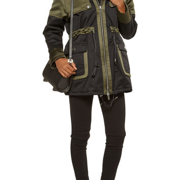 Stormy hooded faux fur-trimmed twill and sateen coat   Karl Lagerfeld   US   THE OUTNET