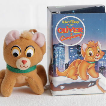Vintage 1988 Oliver & Company Christmas Ornament McDonald's Toy, Walt Disney Toy, Disney Oliver Cat Ornament Soft Toy