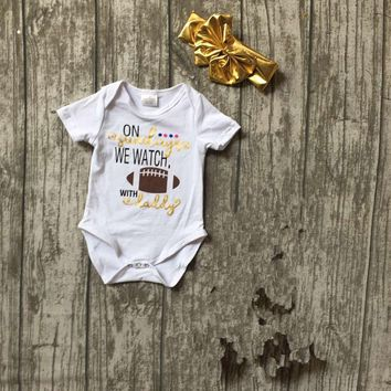"""On Sunday's We Watch Football With Daddy"" 2pc Baby Girl Outfit with Matching Headband"