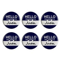 Juan Hello My Name Is Plastic Resin Button Set of 6