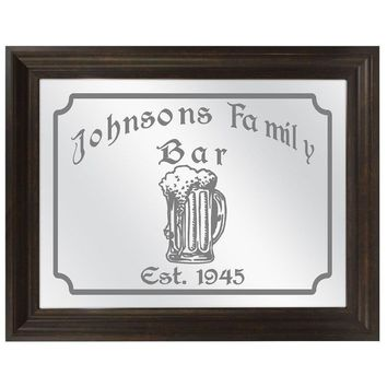 Family Beer Mug Etched Bar Mirror, Large Personalized Bar Mirrors, Custom Etched Mirrors, Home Bar, Etched Gifts