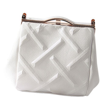 White Rhombus Embossed Handbag