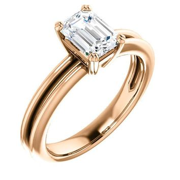 1.0 Ct Emerald Solitaire Diamond Engagement Ring 14k Rose Gold