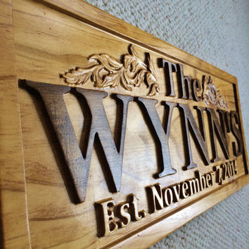 personalized family name signs custom wedding gift wood carved s