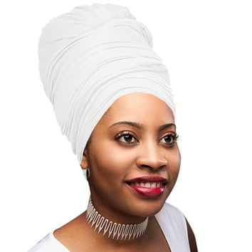 🎁 ONE DAY SALE Novarena White Solid Color Head Wrap Stretch Long Hair Scarf Turban Tie Kente African Hat Jersey Knit Headwrap