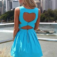 Blue Heart Cutout Dress with Fitted Bodice & Pleated Skirt