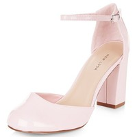 Pink Patent Ankle Strap Block Heels