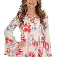 Fantastic Fawn Women's Cream Multi Floral Print with Lace Up Front and Long Bell Sleeves Fashion Top