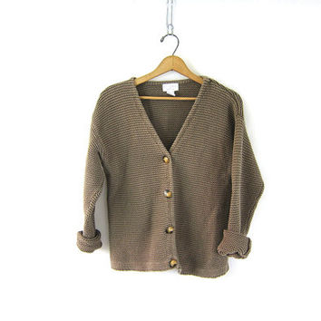 vintage preppy cardigan sweater. muted green cotton + ramie knit sweater. chunky prep school button up sweater. womens medium