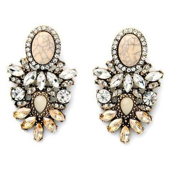 Pair of Charming Dazzling Opal Faux Crystal Earrings For Women   Color Mix
