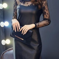 Black Patchwork Lace Zipper Hollow-out PU Leather Mini Dress