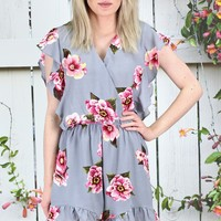 Sweet Florals Crossbody Ruffle Romper {Grey Mix}