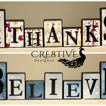 Reversible Wood Blocks Decor ~ Thanksgiving & Christmas Theme