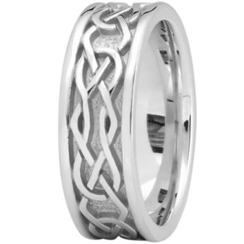 Wedding Band - Engraved Celtic Mens Wedding Band